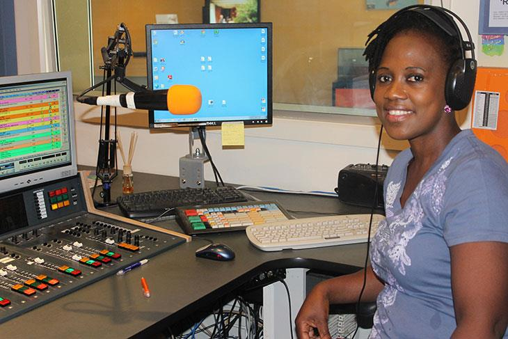 Malichaba Lekhoaba in the studio of Life FM Adelaide Austrailia